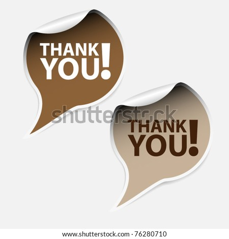 Labels - thank you - brown - stock vector