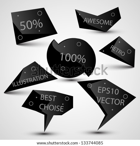 Labels vector set, modern style. Abstract black design bubbles collection, vector. - stock vector