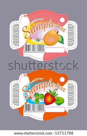 Labels with apricot and strawberry - stock vector