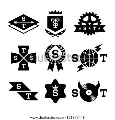 labels with gear, shield, arrow, vinyl - stock vector