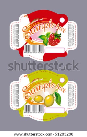 Labels with lemon and raspberry - stock vector