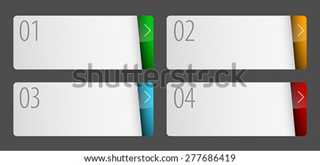 Labels with number of option flat design. Can be used for workflow layout, application icon, diagram, number options, step up options, web design, infographics. Vector illustration.