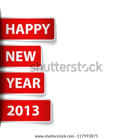 Labels with text: happy New Year 2013 - stock vector