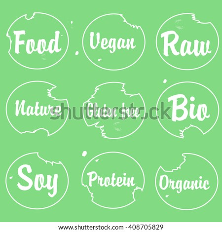 Labels with vegan and raw food diet.  Natural, Organic, Bio, Farm Fresh Design Collection Organic food tags and elements set drink,cafe, restaurants and organic products packaging. - stock vector