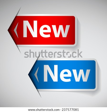 Labels with word new inserting to slot - stock vector