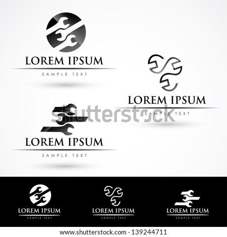 Labels with wrench motive - vector illustration - stock vector