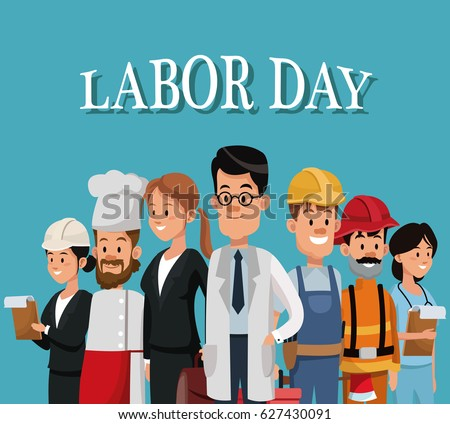 labor day card with people occupation difference