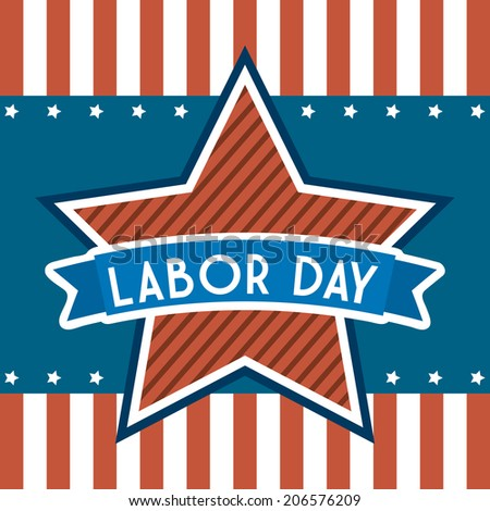 labor day over stripes background vector illustration
