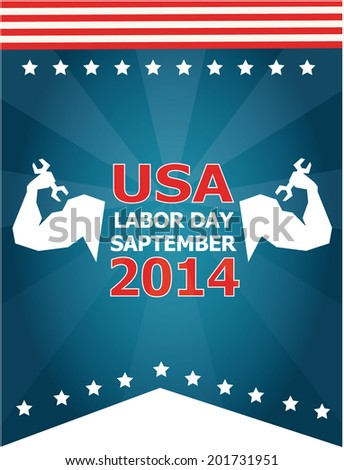 labor day 2014 over white  background vector illustration