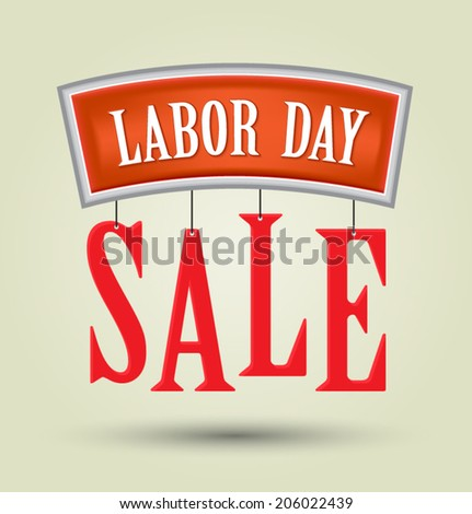 Labor day sale American signs hanging with chain design background, vector illustration - stock vector