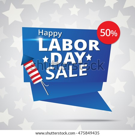 Labor day sale banner with firecracker on stars background
