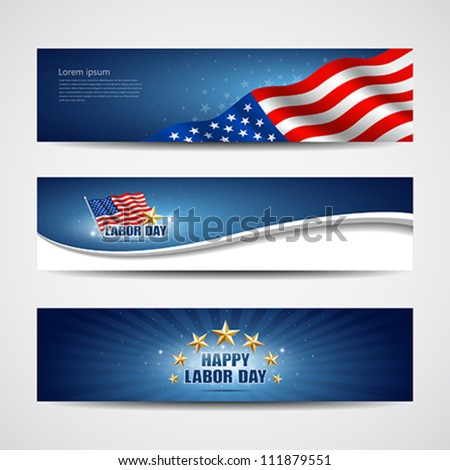 Labor day USA banner design set, vector illustration - stock vector