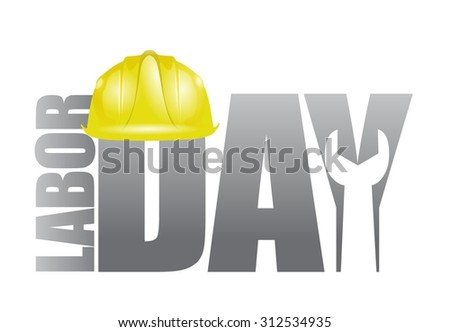 Labor day workers helmet and wrench sign illustration design icon graphic - stock vector