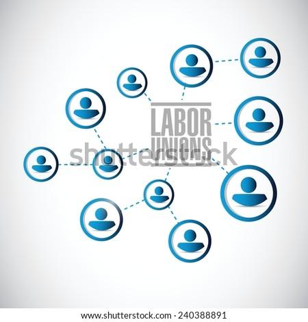 labor unions network diagram illustration design over a white background - stock vector
