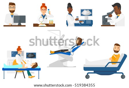 Laboratory assistant working with microscope. Laboratory worker using microscope. Laboratory worker analyzing sample in test tube. Set of vector flat design illustrations isolated on white background.