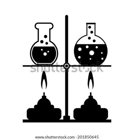 Laboratory burner and flask on white background. Vector illustration. - stock vector