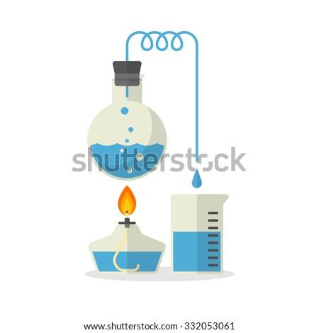Laboratory display of distillation, Chemistry, Flat Design, Vector illustration - stock vector