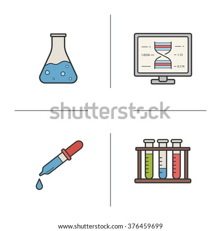 Laboratory equipment color icons set. Laboratory flask and pipette. Pharmacy liquid measurement. Chemical and medical laboratory beaker. Scientific glass. Logo concepts. Vector isolated illustrations - stock vector