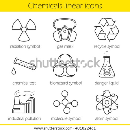 Laboratory equipment linear icons set. Chemical industry. Gas mask, recycle symbol, chemical test tube, poison danger, factory air pollution, biohazard, radiation, atom, molecule line symbols. Vector - stock vector