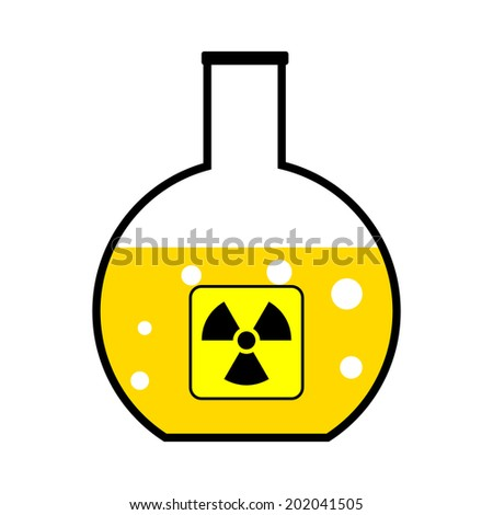 Laboratory flask with a radioactive reagent on white background. Vector illustration. - stock vector