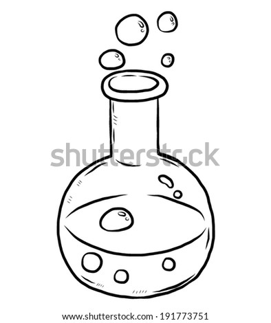 laboratory flask with chemical liquid and bubble / cartoon vector and illustration, black and white, hand drawn, sketch style, isolated on white background. - stock vector