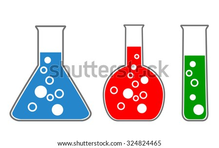 laboratory glass, chemistry. scientific icons, vector eps10 - stock vector
