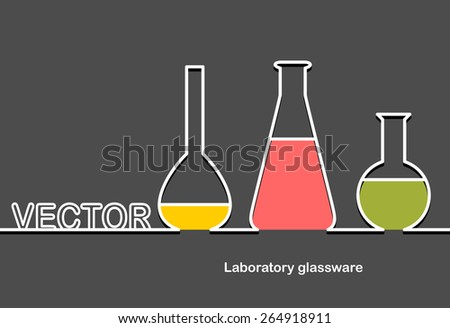 Laboratory glassware and space for text. Flat design.Banners - stock vector