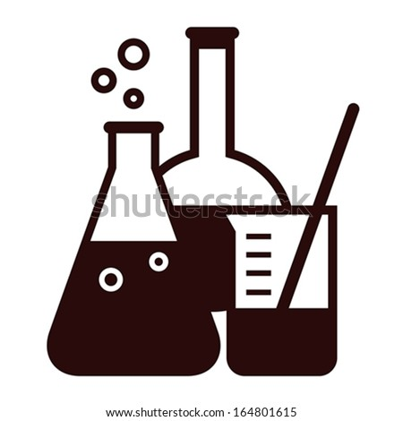 Laboratory glassware isolated on white background - stock vector