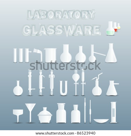 Laboratory glassware used for scientific experiments - stock vector