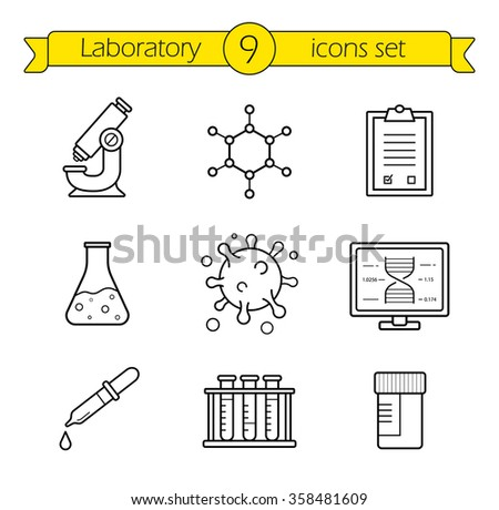 Laboratory tools linear icons set. Thin line research lab equipment illustrations. Scientific, pharmaceutical and medical lab appliance contour symbol. Vector isolated outline drawings  - stock vector