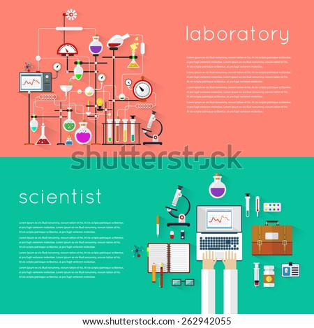 Laboratory workspace and science equipment concept. Chemistry, physics, biology. 2 banners with place for text. Flat design vector illustration. - stock vector