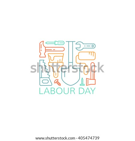 Labour day concept. Labor day greeting card. Working tools on white background. Vector illustration. EPS 8.