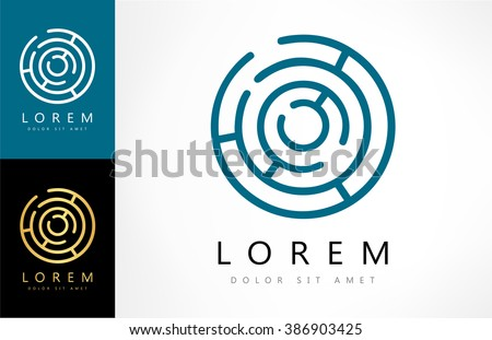 Labyrinth abstract logo. Puzzle rebus logic. - stock vector