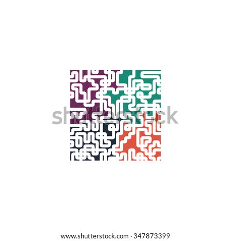 Labyrinth Color vector icon on white background  - stock vector