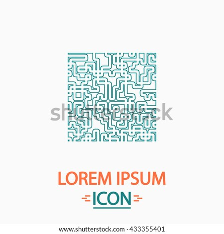 Labyrinth Flat thin line icon on white background. Vector pictogram - stock vector