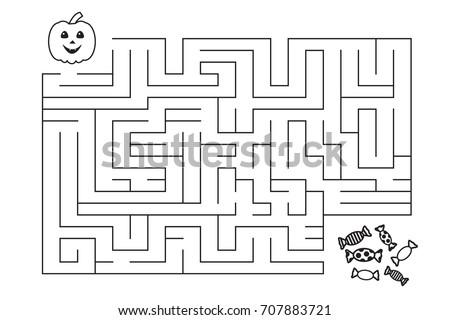 Labyrinth Children Halloween Pumpkin Candies Entry Exit Stock ...