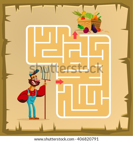 Labyrinth game for children with farmer. Vector cartoon illustration - stock vector