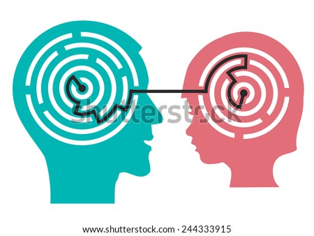 Labyrinth in the head of child. Male and child head silhouette with maze symbolizing psychological processes of understanding or child psychologist.  Vector illustration.  - stock vector