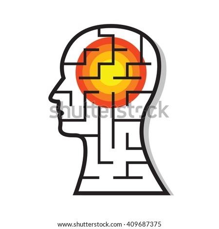 Labyrinth in the head with a target headache, medical abstract figurative symbol image on white background. Medicine for headache as example. Vector illustration. - stock vector