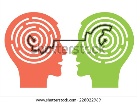 Labyrinth in the heads. Two male head silhouettes with maze symbolizing psychological processes of understanding. Vector illustration.  - stock vector