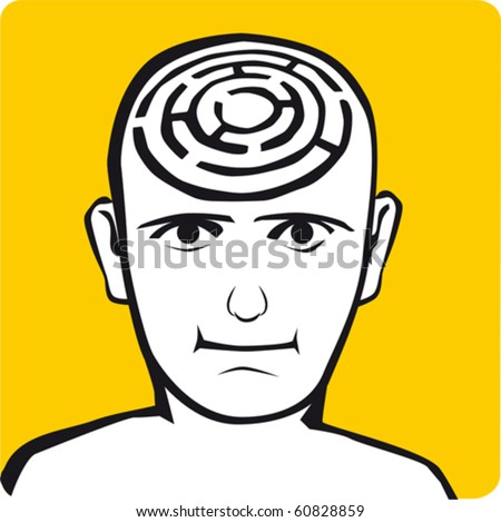 Labyrinth inside of the head - stock vector