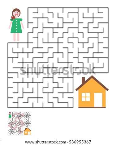 Labyrinth Maze Conundrum For Kids Entry And Exit Children Puzzle Game Help