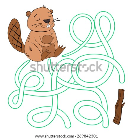 Coloring Book Layout : Beaver builder vector illustration stock 301545605