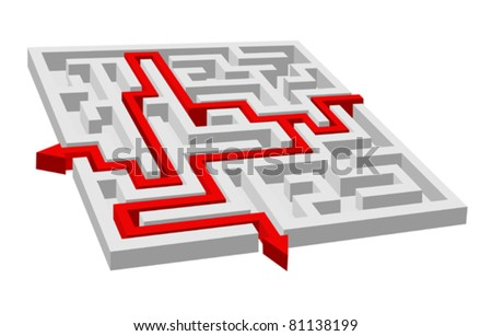 Labyrinth. Maze puzzle for solution or success concept. Jpeg version also available in gallery - stock vector
