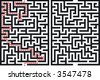Labyrinth Maze. With and without solution. - stock photo