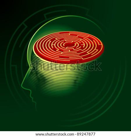 Labyrinth Mind. Human Head Psychology Symbol. Vector Illustration - stock vector