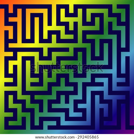 Labyrinth of low complexity with a  rainbow walls  - stock vector