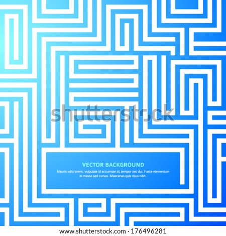 Labyrinth texture and place for your text isolated on blue light background. Abstract vector illustration EPS 10. Concept  business maze &  solving a problem and finding the best creative solution - stock vector