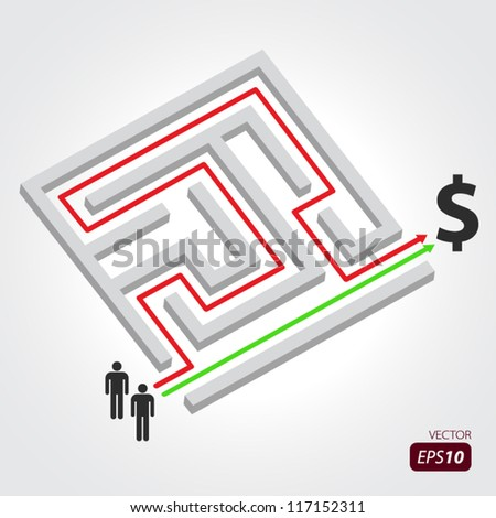 Labyrinth with arrow, people and dollar symbol - stock vector