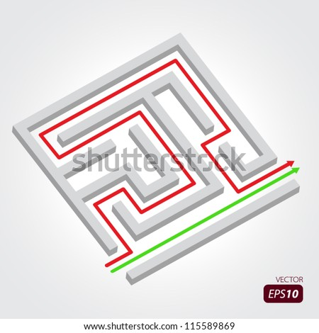 Labyrinth with arrows - stock vector